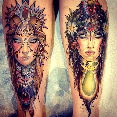 Stunning Gypsy Leg Tattoo Designs