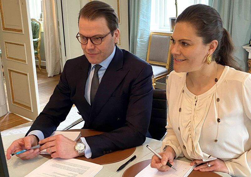 Crown Princess Victoria wore a cream ruffle blouse from By Malene Birger, and necklace from Misst, and a watch from Epoch
