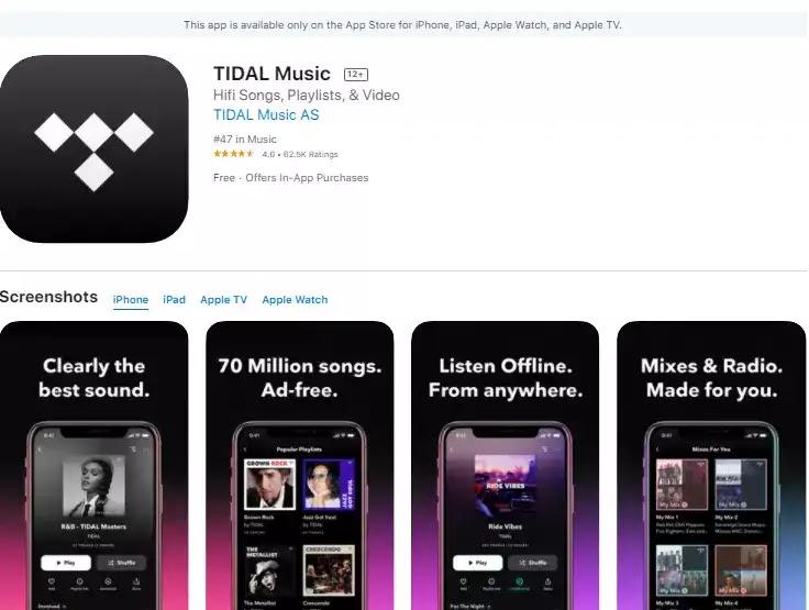 Tidal music streaming app ios