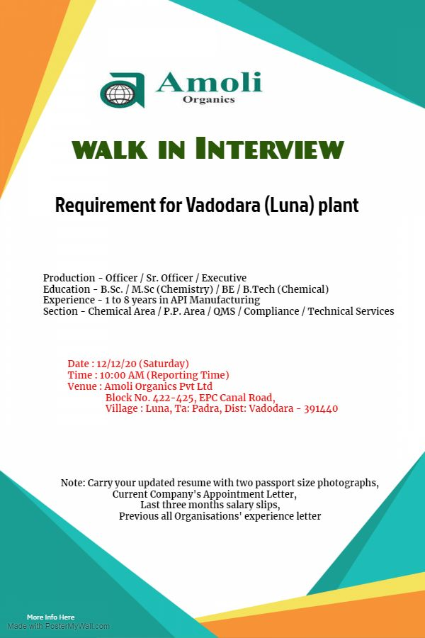 Amoli Organics | Walk-in interview for Production on 12th Dec 2020