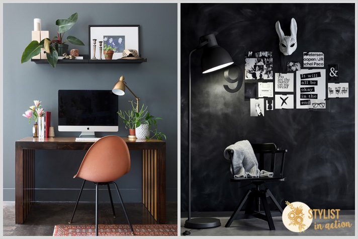 Color en las paredes. Tonos oscuros con personalidad y glamour. Home office increible