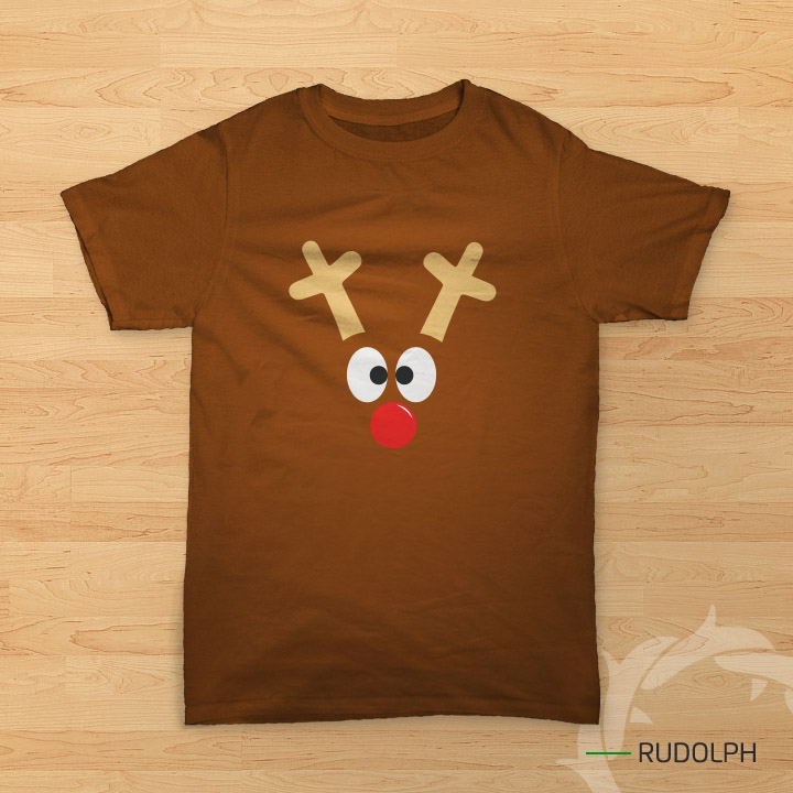 kaos Natal bergambar rusa (rudolph the red nose)