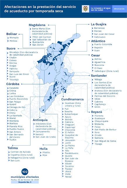 102 municipios de Colombia registran afectaciones en la prestación del servicio de agua potable