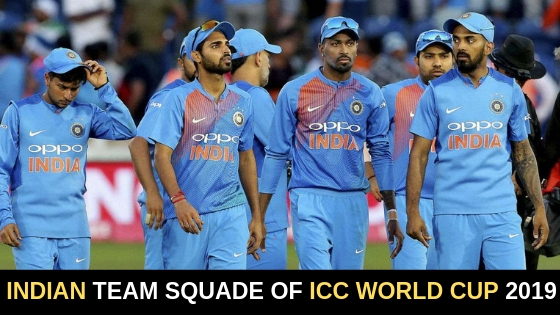 Indian Team World Cup 2019 Team Squade.