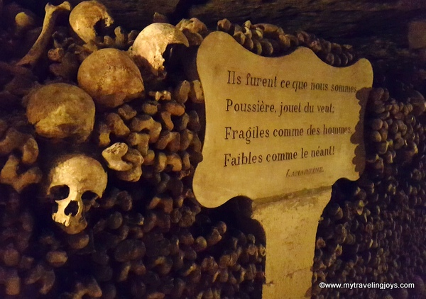 More skulls and bones in Catacombs of Paris