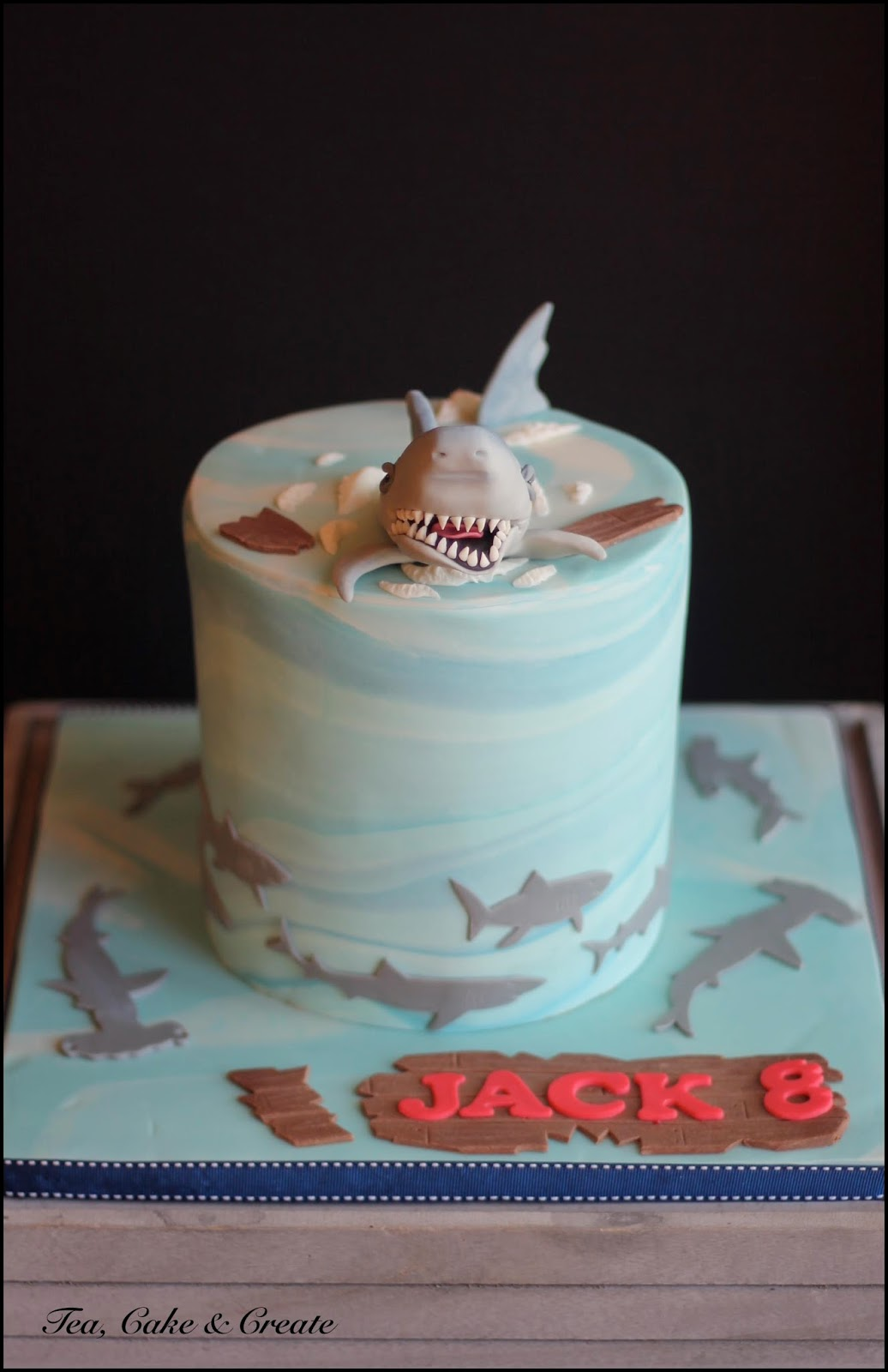 Fabulous Tea Cake Create Shark Themed Birthday Cake Funny Birthday Cards Online Fluifree Goldxyz
