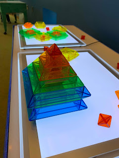 colorful square shapes on top of light panels