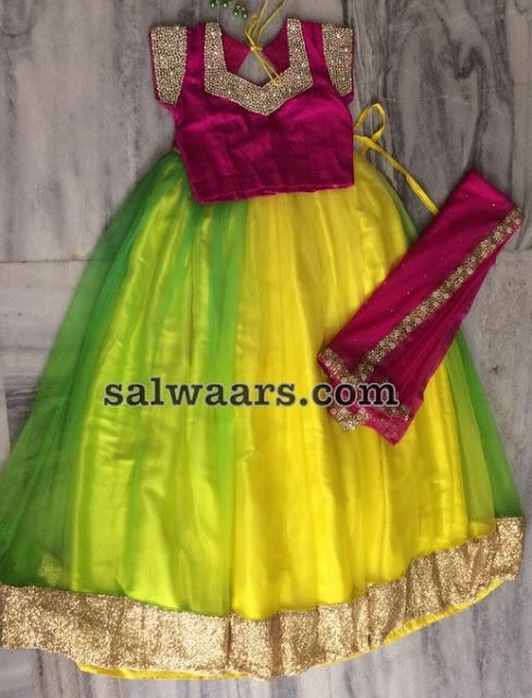 Lemon Yellow Half Saree for Teens