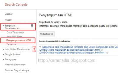 error duplikat meta deskripsi di webmasters tools