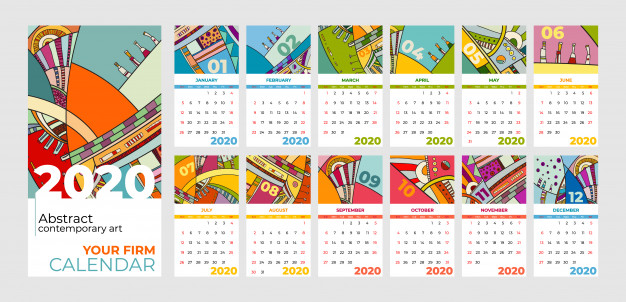2020 calendar abstract contemporary art