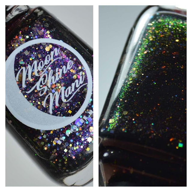 black jelly nail polish with color shifting flakies and glitter in a bottle
