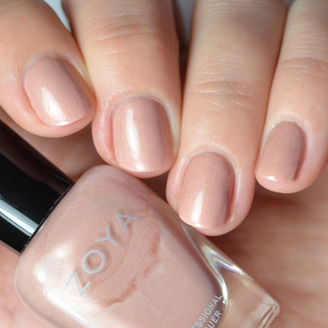 muted shimmer peach nail polish