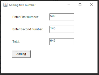 add two numbers by using AWT, java pratical programs,W.A.P to add two numbers by using three text fields, three lable cantrol and one radio buttons.