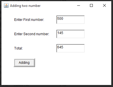 W.A.P to add two numbers by using three text fields, three lable cantrol and one radio buttons.