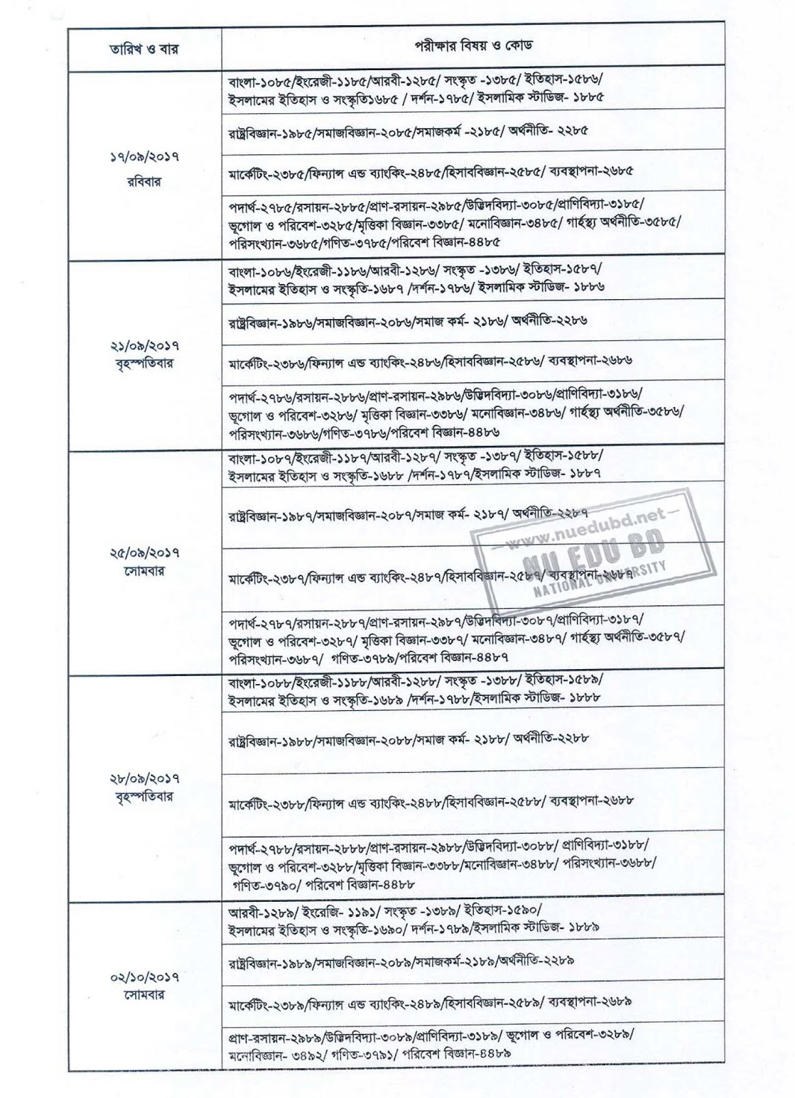NU Honours 4th Year Routine 2017 [Session 2012-13]