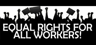 """A graphic showing silhouettes of people holding signs and fists in the are and the words""""Equal Rights For All Workers"""""""