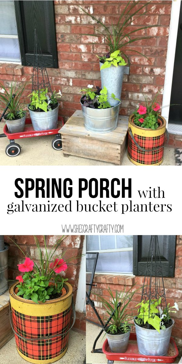 galvanized buckets, planters, sweet potato vine, vintage containers
