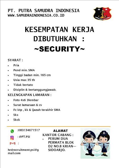 lowongan kerja security putra samudra indonesia