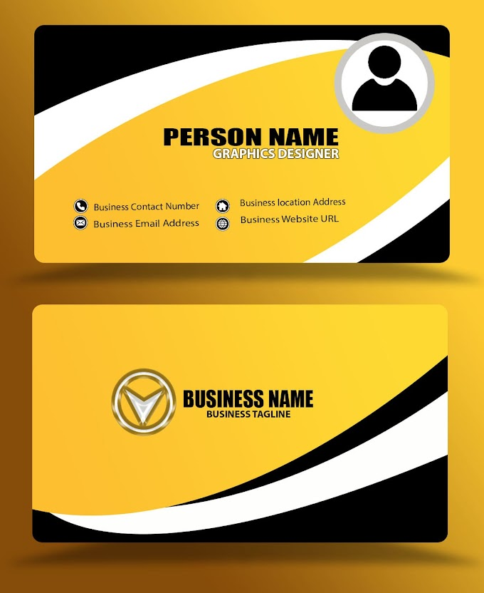 Yellow business card design eps psd formats free download