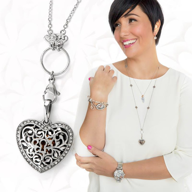 Origami Owl Silver Sentiments Filigreee Heart Pendant with Swarovski Crystals available at StoriedCharms.com
