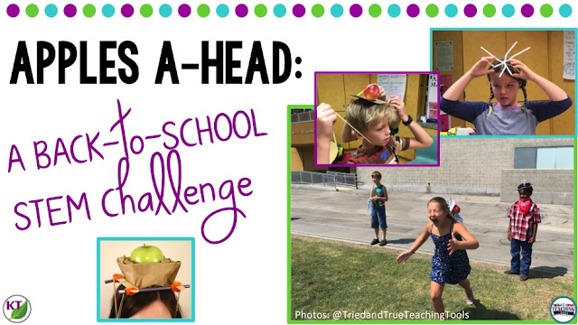 Back-to-School STEM Challenge: In Apples A-head, students build an apple-balancing device to be worn on their heads and test in a relay race. This challenge is perfect for studies of gravity, forces & motion, and includes modifications for grades 2-8.