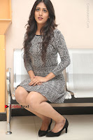 Actress Chandini Chowdary Pos in Short Dress at Howrah Bridge Movie Press Meet  0133.JPG