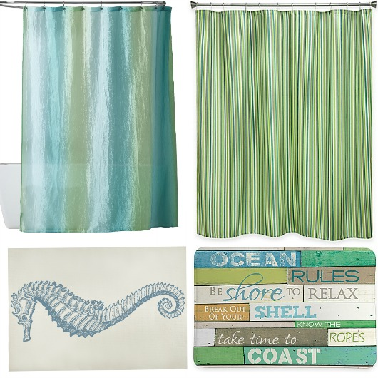 Blue Green Shower Curtain Bath Rug Set | Combo Ideas
