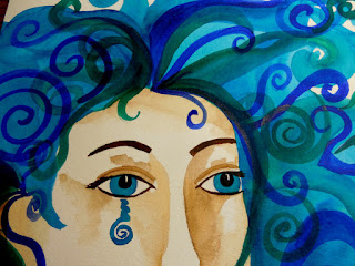 Water Warrior Original Watercolor Painting Warrior Woman Goddess