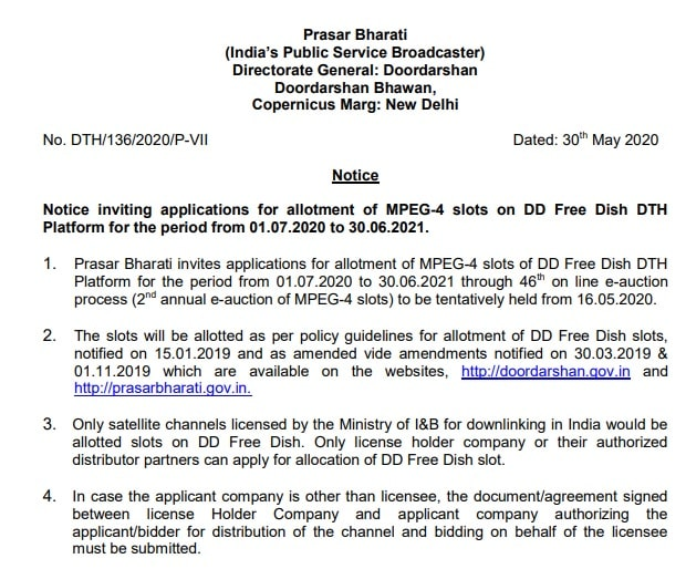 Prasar Bharati inviting applications for allotment of MPEG-4 slots on DD Free Dish - 46th e-Auction