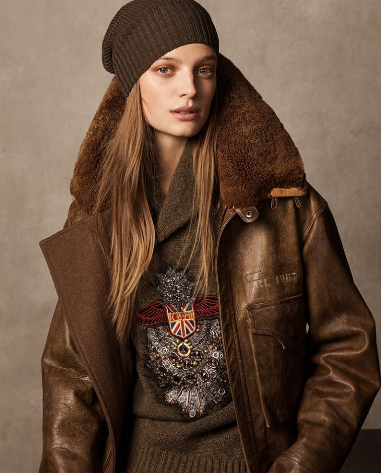 Ralph Lauren Collection 'Grayden' Leather Coat, Embroidered Shawl Sweater and 'Watchman' Cashmere Hat