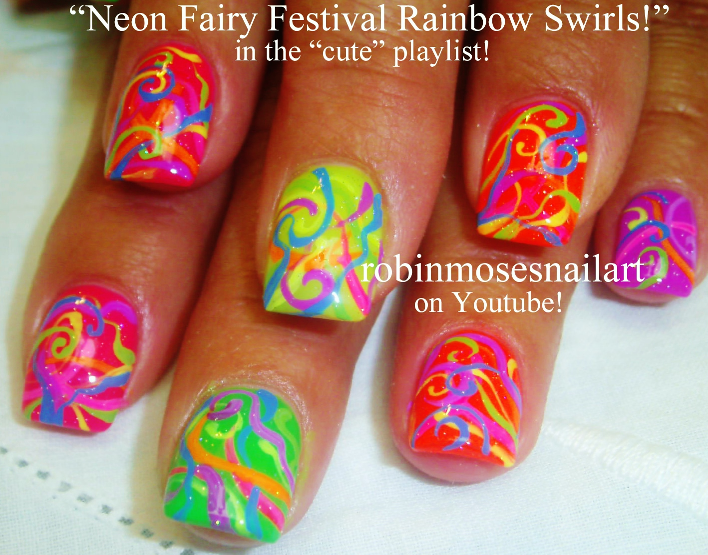 Nail Art By Robin Moses Neon Summer Ombre Splatter Paint Nail Design