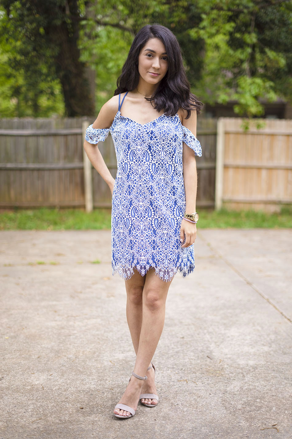 blue white cold shoulder lace dress