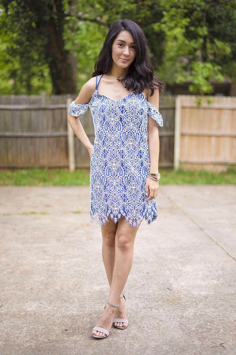 blue white cold shoulder lace dress