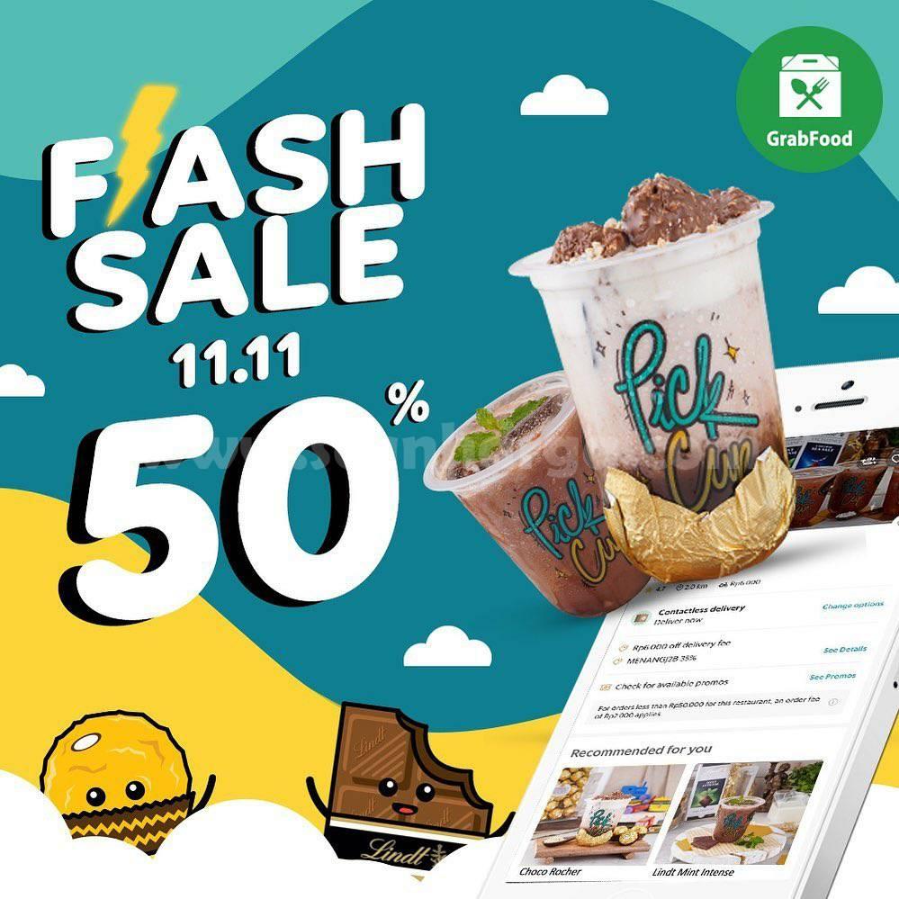 Promo Pick Cup Flash Sale Diskon 50% Khusus Pesan Antar via Grabfood