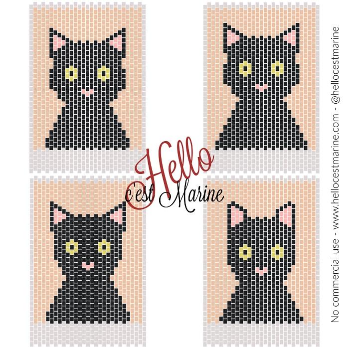 Quatre silhouettes différentes de chats à tisser en perles Miyuki Delicas par Hello c'est Marine