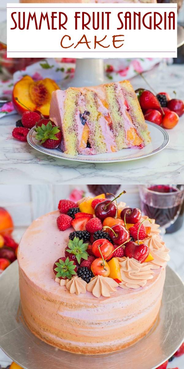 SUMMER FRUIT SANGRIA CAKE #cakerecipes