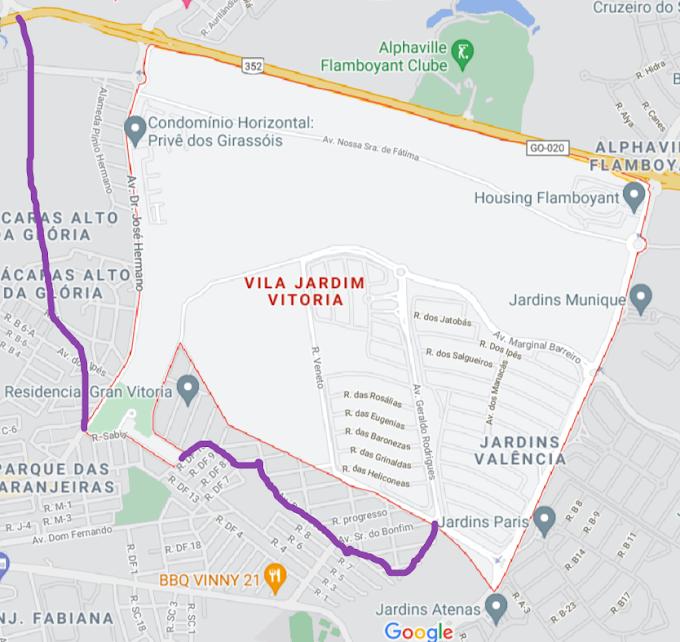 Mapa real do Jardim Vitória