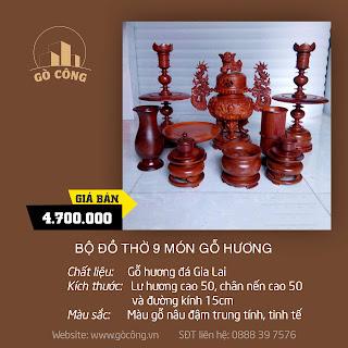 Bộ đồ thờ 9 món gỗ Hương