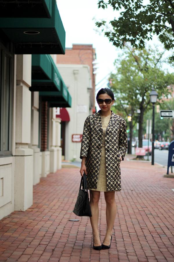 f221eebbcbb4 Ann Taylor Floral Leopard Jacquard Topper | Alice + Olivia Elise A-Line  Skirt Dress (last worn here) | Chanel Medallion Tote | Marc by Marc Jacobs  Rose Gold ...