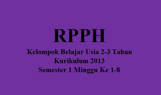 RPPH KB Usia 2-3 Tahun Semester 1 Minggu Ke 1-8