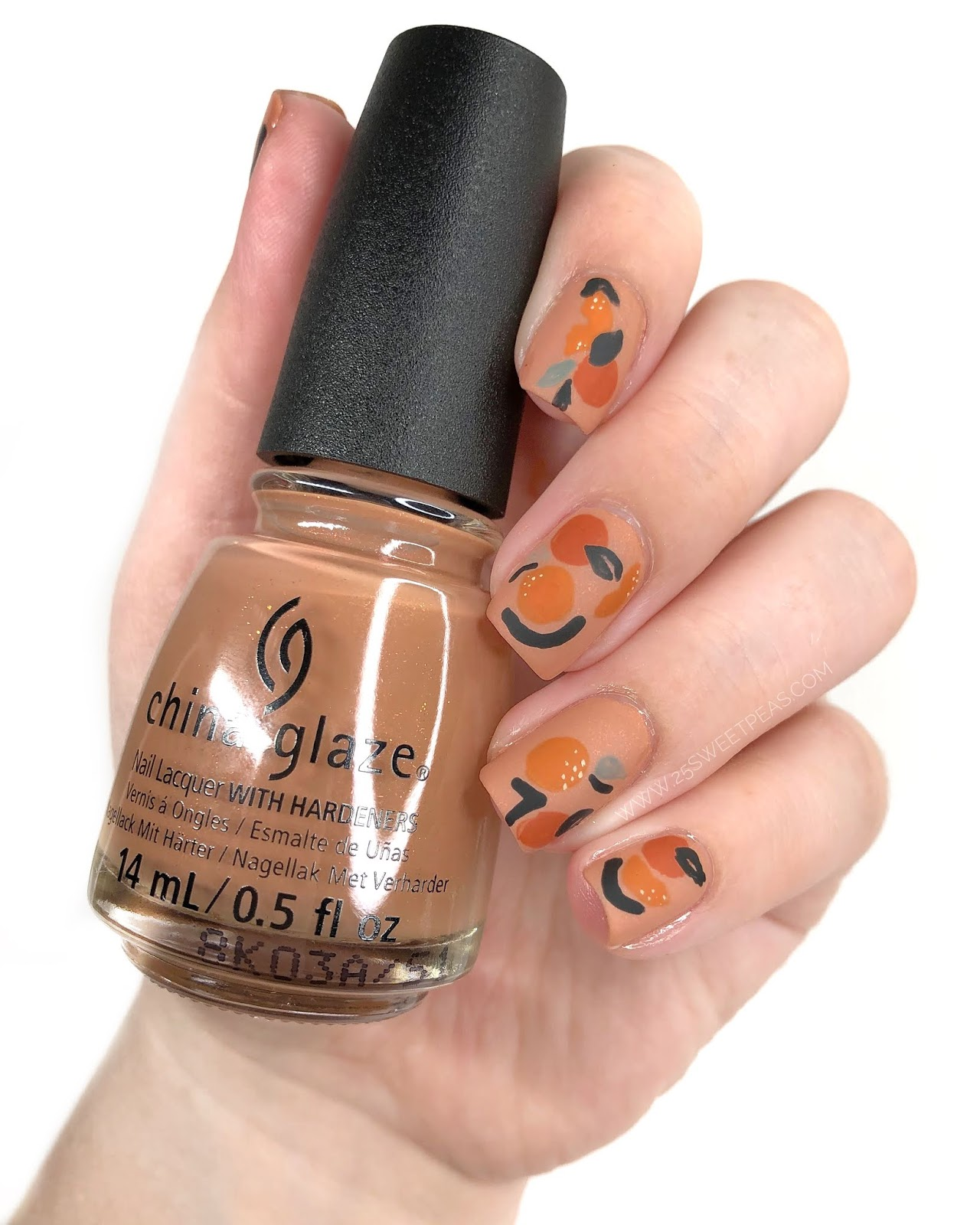 Abstract Orange Nail Art