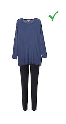 Комплект с узкими брюками для полных женщин