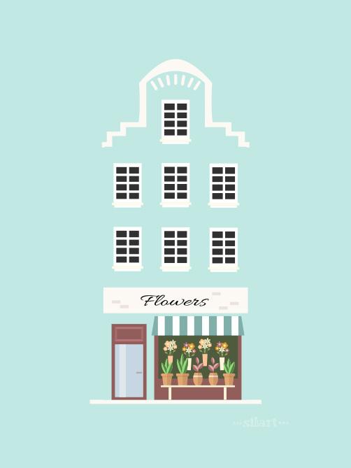blue house, flower shop, flat design, illustration, vector