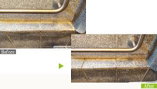 温浴施設の石材に付着した水垢を業務用洗浄剤G-Ecoシリーズ環境対応型洗浄剤サビ・水垢を使用し除去