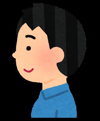 正常な後頭部のイラスト(男性)