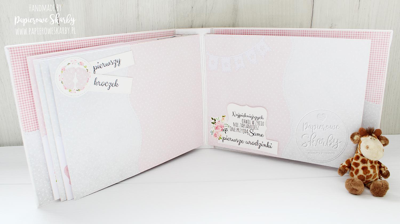 scrapbooking handmade rękodzieło album albumy hidden hinge bawełna bawełniany bazyliszek dla dziewczynki dla dziecka dla chłopczyka roczek dziecka roczkowy pamiętnik pierwszy album prezent dla rodziców gratulacje metryczka zapiski na zdjęcia