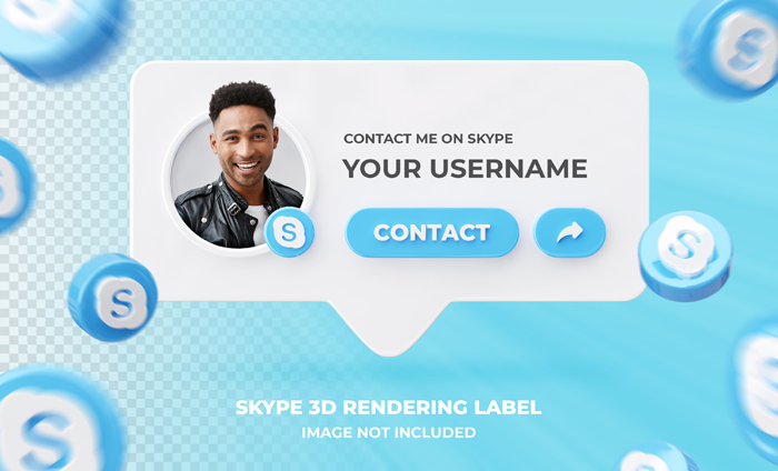 Banner Icon Profile Skype 3D Rendering Label Template