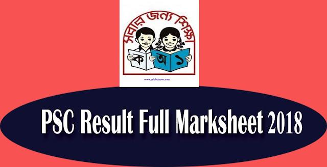 Primary PSC Ebtedayee  Result Full Marksheet 2018 | dperesult.teletalk.com.bd