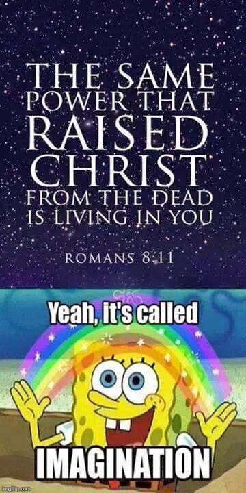 Funny Imagination Power Raised Christ Spongebob Joke Picture