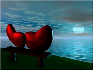 Imagen de dos corazones rojos sentados enfrente de la Luna